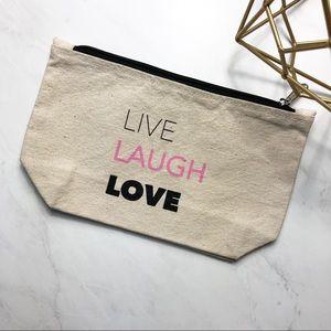 LA Trading Co Live Laugh Love Pouch Clutch NWOT